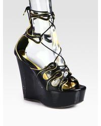 Alexander McQueen Laceup Leather Metallic Leather Wedge Sandals - Lyst