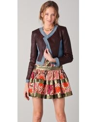 Thakoon - Cropped Leather Jacket with Denim Trim - Lyst