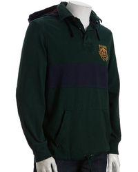 Polo Ralph Lauren Green Stripe Cotton 3 Hooded Rugby Shirt - Lyst