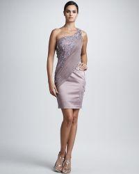 Julian Joyce By Mandalay One-shoulder Beaded Lace Dress - Lyst