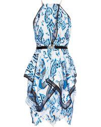 Julien Macdonald Lotus Printed Layered Silk Dress - Lyst