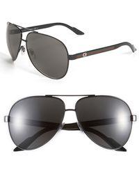 Gucci Metal 63Mm Aviator Sunglasses - Shiny Black - Lyst