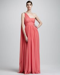 Notte by Marchesa One-shoulder Ruched Chiffon Gown pink - Lyst