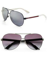 Gucci Large Metal Aviator Sunglasses - Lyst