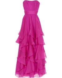 Notte by Marchesa Strapless Chiffon Gown - Lyst