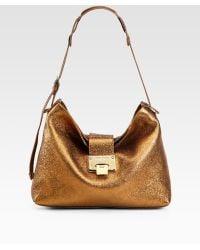 Jimmy Choo Rachel Glitter Metallic Leather Shoulder Bag - Lyst