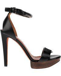 Lanvin Satin-finished Black Calfskin Sandals with Wooden Heel and Platform - Lyst