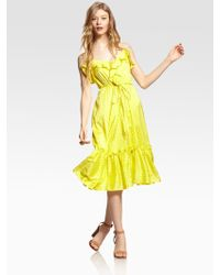 Milly Adrienne Silk Ruffle Dress - Lyst