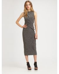T By Alexander Wang Marled Asymmetrically Draped Dress - Lyst