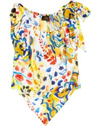 Vivienne Westwood Anglomania Bow Printed Cotton Top multicolor - Lyst