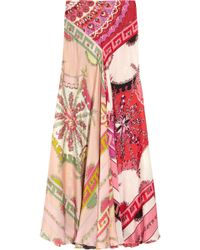 Emilio Pucci Printed Silkcharmeuse Maxi Skirt multicolor - Lyst