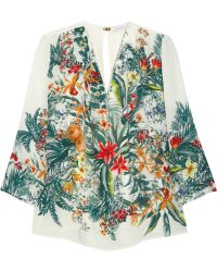 Sandro Epicure Printed Silk Blouse - Lyst
