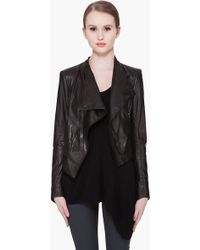 Helmut Lang Cropped Waxed Leather Jacket - Lyst