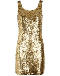 Moschino Pailletteembellished Crepe Mini Dress gold - Lyst