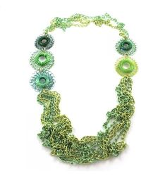 Sari Glassman Ooak Green Daisy Flowers Necklace - Lyst
