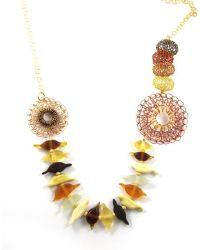 Sari Glassman Ooak Autumn Love Birds Lampwork Necklace - Lyst