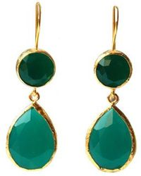 Toosis Angelina French Style Green Drop Earrings - Lyst