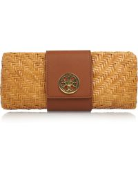 Tory Burch Rattan and Textured Leather Clutch - Lyst