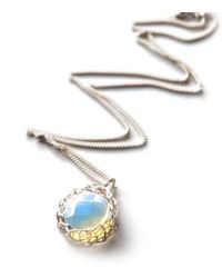 Yoola Silver Pendant Necklace, Oplaite Faceted Coin - Lyst