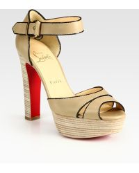 Christian Louboutin Twotone Leather Platform Sandals - Lyst