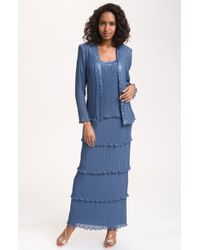 Patra Beaded Mock Twopiece Pleated Chiffon Dress - Lyst