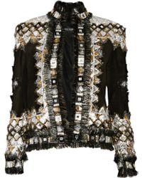 Balmain Embellished Suede Jacket - Lyst