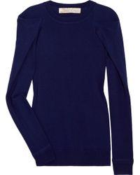 Lela Rose Folded Shoulder Fineknit Sweater - Lyst