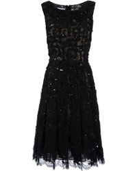 Oscar de la Renta Sequin Embellished Lace Dress black - Lyst