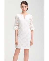 Adrianna Papell Ruffle Sleeve Lace Dress - Lyst