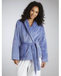 John Lewis - Short Fleece Robe Blue - Lyst