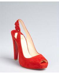 Christian Louboutin Red Suede Peep Toe Slingback Platform Pumps - Lyst
