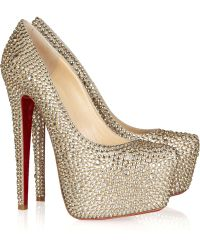 Christian Louboutin - Daffodile 160 Crystal-Embellished Suede Court Shoes - Lyst