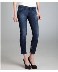 Diesel Dark Blue Stretch Denim Zivy Zip Skinny Jeans - Lyst