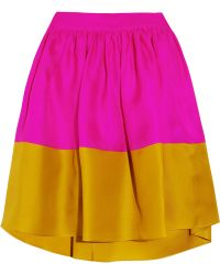 Roksanda Jim Colorblock Silktwill Skirt purple - Lyst