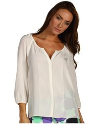 Tibi Silk Cdc Pintucked Tunic Top beige - Lyst