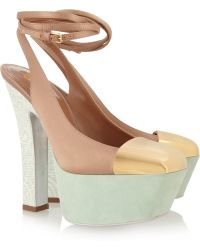 Saint Laurent Obsession Satin and Suede Pumps - Lyst