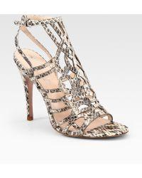 27b6798132b Elie Tahari - Ella Strappy Snakeprint Leather Sandals - Lyst