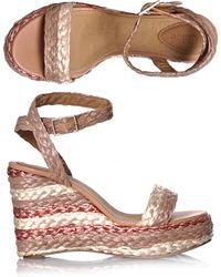 Chloé Stripe Raffia Wedge Shoes - Lyst