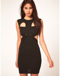 Asos Bodycon Cut Out Dress In Textured Cloth - Lyst
