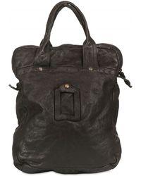 Officine Creative Washed Leather Shoulder Bag - Black