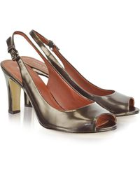 Marc By Marc Jacobs Alicia Pa Gunmetal Leather Slingback Pumps - Lyst