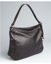 Furla Coffee Ostrich Embossed Leather New Zarina Hobo - Lyst