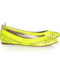 Belle By Sigerson Morrison - Andromeda Lasercut Patentleather Ballet Flats - Lyst