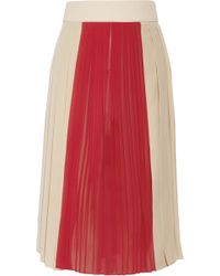 Chloé Pleated Crepe and Silkchiffon Skirt red - Lyst