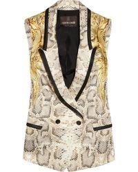 Roberto Cavalli Snakeprint Silk Vest white - Lyst