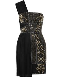 Versace Leathertrimmed Studded Plissé and Scubajersey Dress - Lyst