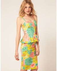 ASOS Collection Asos Peplum Dress in Darling Buds Print - Lyst