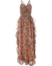 House of Dereon - Printed Ruffle Maxi Dress - Lyst
