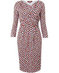 Max Mara Studio Palio Cowl Neck Spotted Dress - Lyst
