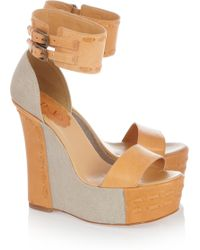 RED Valentino Leather and Canvas Wedge Sandals brown - Lyst